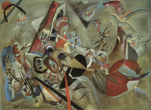 Sendo um dos grandes poucos trabalhos da época russa de Kandinsky preparado minuciosamente, este quadro apresenta uma estrutura compacta de formas abstractas em tons azulados, avermelhados e cinzentos, apagados e frios. O esboço a lápis mostra que Kandinsky partiu originalmente de motivos mais orgânicos, como o sol ou uma barca com remadores, que se transformam neste óleo em constelações de cores e formas livres. Im Grau, 1919.
